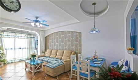 地中海风格装修效果图,蓝蓝的南京小户型装修案例