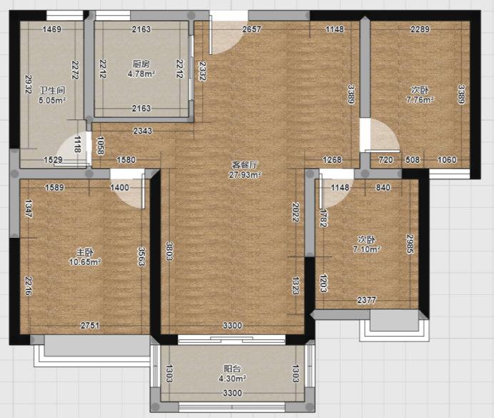 南京万达茂御湖世家三期,96平的简约小三室效果